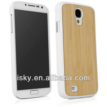 Hot-selling Genuine Bamboo Wood Case Cover for Samsung Galaxy S4 with Durable Plastic Edges with Smooth Matte Finish W