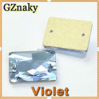 Wholesale 13x18mm VIOLET Rectangle rectangular Flatback Sew-On Glass Stone FANCY STONE foil backed rhinestone
