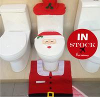 Wholesale Christmas Happy Santa Toilet Seat Cover & Rug Bathroom Set christmas decorations