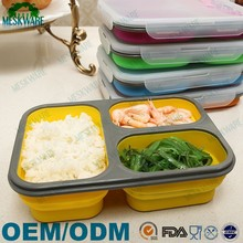 2015 New hot selling silicone collapsible bento lunch box