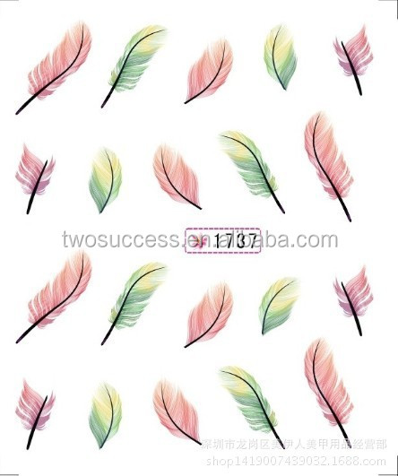 new feather nail sticker