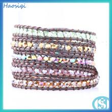 wholesale crystal bead bracelet fashion new pattern leather wrap bracelet