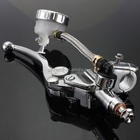 Universal 7/8 inch10mm Chrome Right Brake Lever Master Cylinder for Honda CBR /Suzuki /GSXR /Kawasaki /Ninja 250 500 R ZX10R