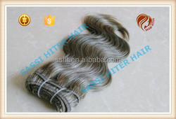 grey human hair weaving body wave in stock