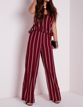 Custom Design Ladies Striped Wide Leg Trousers Latest Design Ladies Trousers