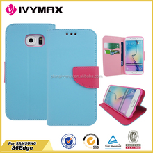 PU best flip case for Samsung S6 Edge leather case