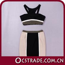 Crap top y falda con cuentas vestido de 2 pedazos 2014 vendaje