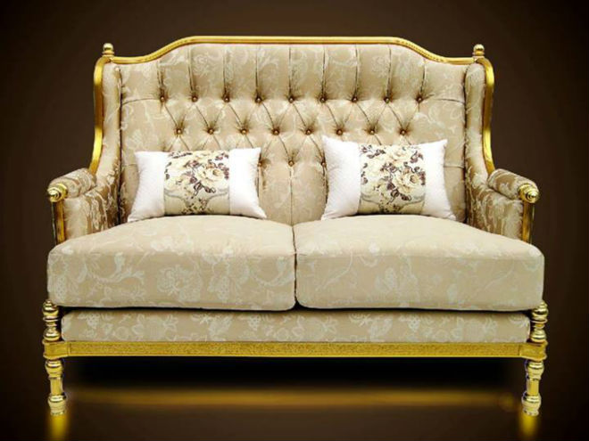 Royal golden aluminium frame sofa furniture luxury classic design european style elegant living - Add luxurious look home royal sofa living room ...