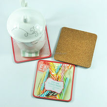 Made in China 90*90mm 95*95mm square mdf coaster with cork bottom for promotion