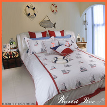 WLB081 Leisure Style White Ship and Anchor Children Cotton Bedding Set