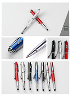 Fancy 5 In 1 Promotional Multi-function Metal Ball Pen With Laser Pointer+LED Light+UV light+ Stylus Touch Pen