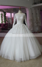 (MY20140808A) Marry You New Collection Classic Ball Gown High Neckline Lace Appliqued Arabic Long Sleeve Wedding Dress