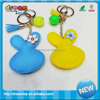 100% manufacturer for cheap promotion soft 3D colorful PU leather keychain pvc keyring