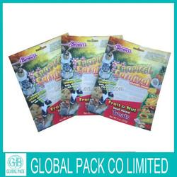 Color Printing 3-side sealed plastic pet food bag /dog food bag with zipper