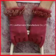 Ladies popular pink lace and fur trim cheap fashion autumn gloves