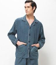 Wholesale 2015 On sale blue notched collar plaid print long sleeve + pants Cheap sleeping suits men leisure wear pajamas sets