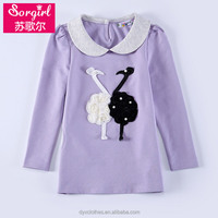 new style girls shirts of 2015 fashion design, cartoon bird print t-shirts for girls of 4-15 years olds