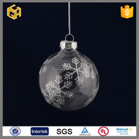 Clear glass snowball Christmas decorations