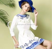 Mais novo projeto do outono elegante das mulheres impressão vestido de casamento de Slim linha vestido de festa para senhoras