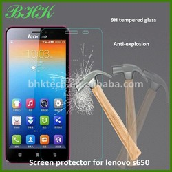 electrostatic adsorption transparent screen protector for lenovo s650 ,9H tempered glass screen protector