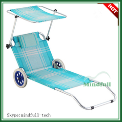 Canopy Lounger Chair /Pool Sunbed/Folding Outdoor Beach Sunbed With Wheels