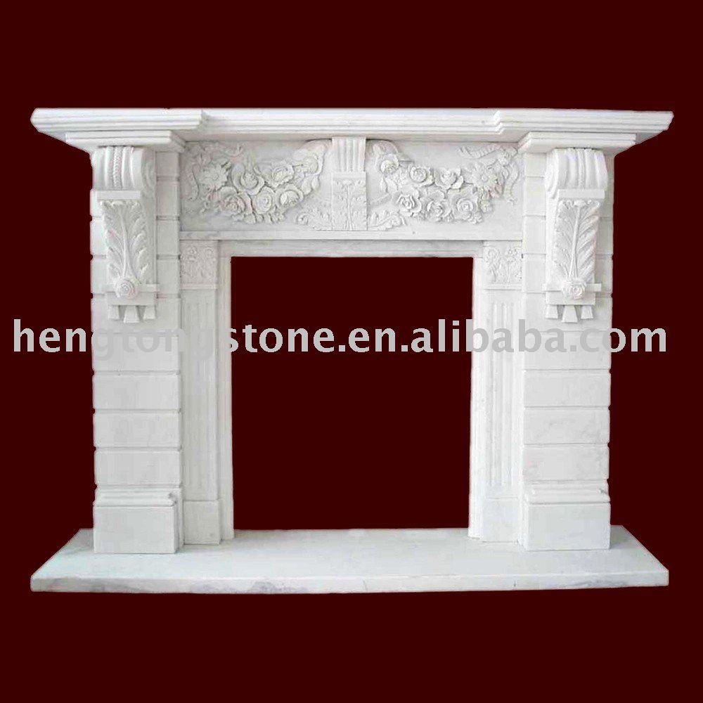 Baroque italien blanc manteau de la cheminée en marbre