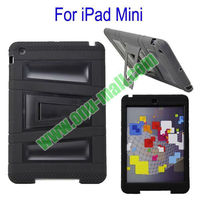 Fashionable 2 in One Silicon Plastic stand cover case for ipad mini