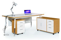 Guoxun Project Modern White Office Executive Desk With Frame MFC Manager Table With Long Side Cabinet Adjustable Desk