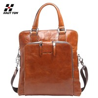 DB04 wholesale quality men travel trolley luggage genuine leather bag