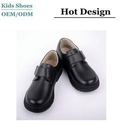2015 Best selling velcro school shoes/action leather school shoes/black school shoes for children