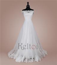 2015 china wholesale A-line off-shoulder bride wedding dress with lace-up back design