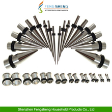 36 PIECE STAINLESS STEEL EAR STRETCHER EXPANDER TAPER PLUG TUNNEL KIT SET