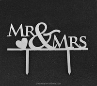 Hot Sale Mr&Mrs Heart Mirror Silver Acrylic Cake Topper Wedding Decorations