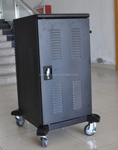2 doors metal storage&sync charging cabinet / cart with handrails