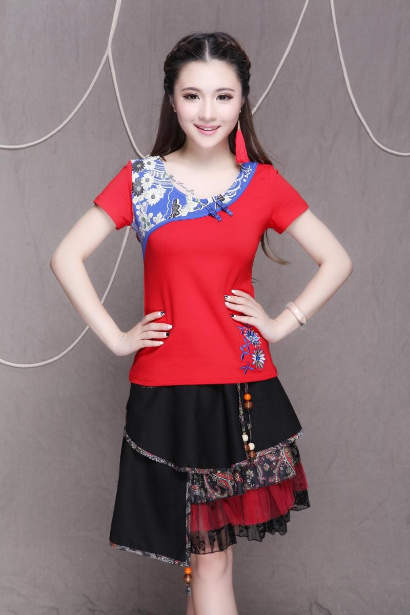 Новая мода лето китайский стиль национальных женщин Футболка случайно вышивка короткий рукав тонкий женщин хлопок Топ