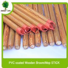 Wood design red colour cap pvc coaed wooden mop stick