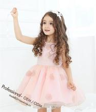 amazing pink chiffon appliqued dress princess party/wedding/birthday dress for 2-12 years old girls