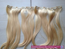 2015 Factory Price Wholesale Cheap 100% Unprocessed Natural Wave Blond Human Remy Clip In Hair Extension