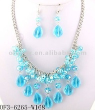 """HOT NOW"" Fashion Popular Turquoise Transparent Acrylic Beads And Wholesale Costume Jewelry Set"