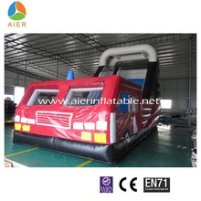 0.55mm PVC Commercial Fire Truck Hot Inflatable Slide With Good Quality