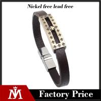 Iron Cross ID Charm Bangle Bracelet Leather Chain Man