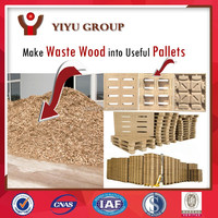 Use waste wood for compressed wood pallet