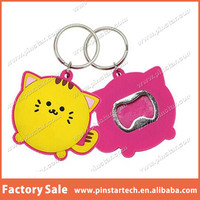 China Factory Hot New Design Cat Shaped Bottle Opener Keychain