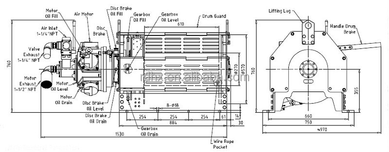 2ton air winch manual brake automatic disc brake for Piston type air motor
