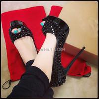 высокое качество леди Пип toe шипы платформы насосы черный красный нижней спайки лакированные каблуки