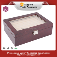 Arcylic Window Red Color Wooden Cufflink gift Box With Tray