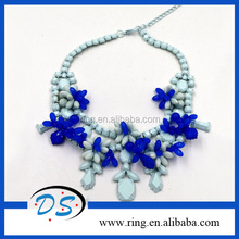 Fashion New Design Women Blue Resin Flower Bib Statement Necklace Collar