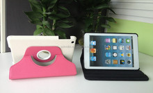 New Rotatable Stand Lychee Leather Smart Case for iPad Mini1/2/3 (Sleep Wake Up Function)