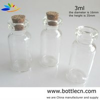wholesale decorative 3ml/6ml glass bottle with cork stopper