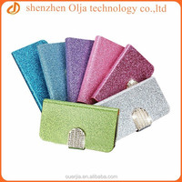 Olja newest arrival blingbling leather case for S5 I9600,rhinestone wallet case for samsung galaxy s5